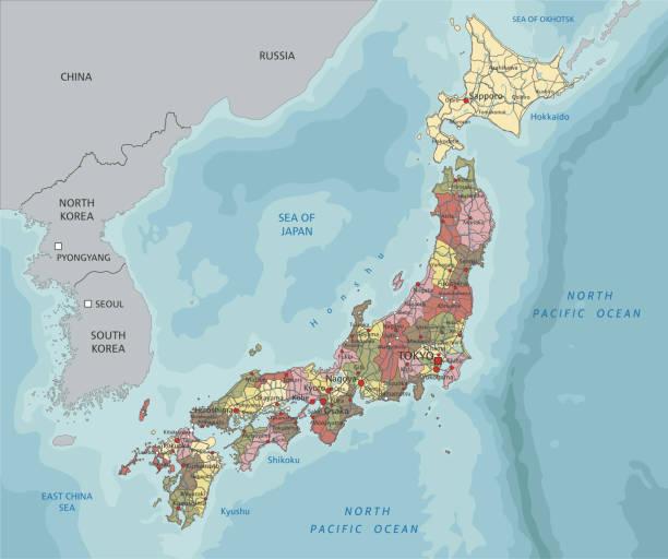 詳細的日本政治地圖。 - hiroshima 幅插畫檔、美工圖案、卡通及圖標