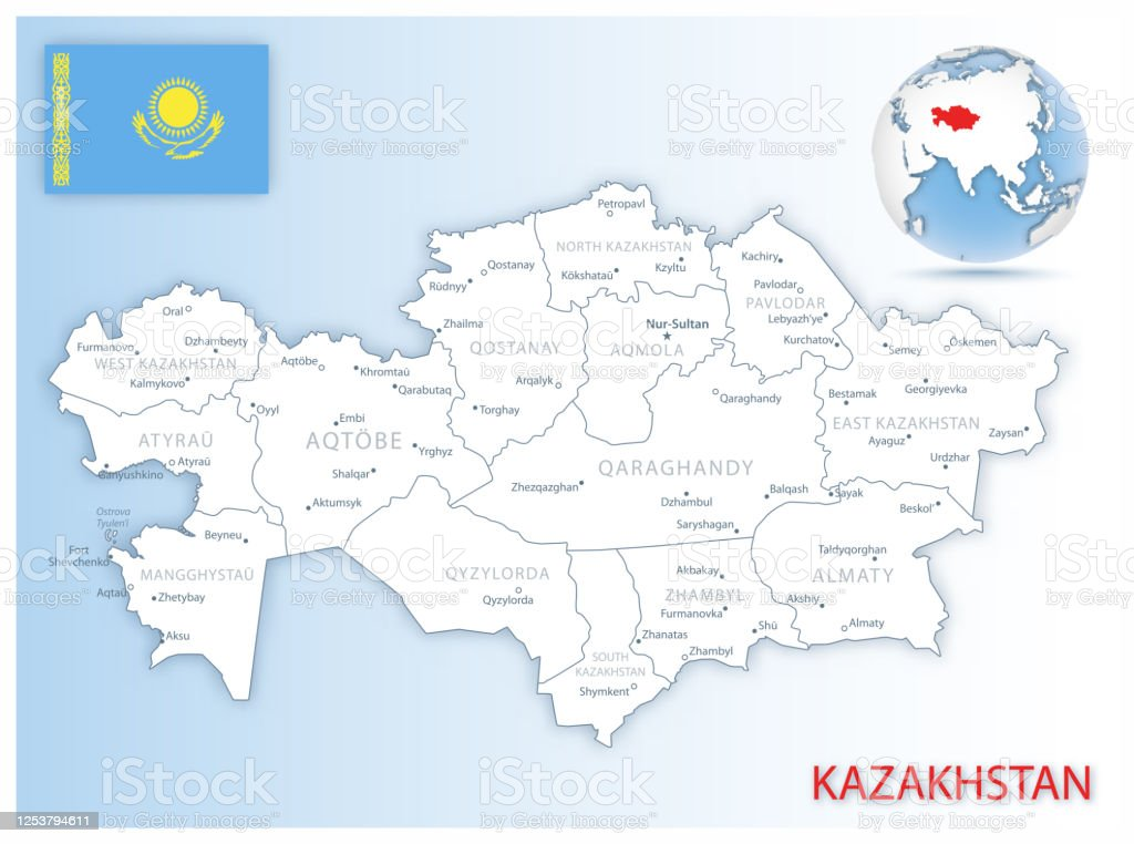 Picture of: Detailed Kazakhstan Administrative Map With Country Flag And Location On A Blue Globe Stock Illustration Download Image Now Istock