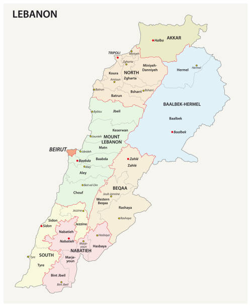 detailed lebanon administrative and political map - lebanon stock illustrations