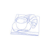 istock Detailed line artwork with cup of coffee , croissant and handkerchief. 1325924563