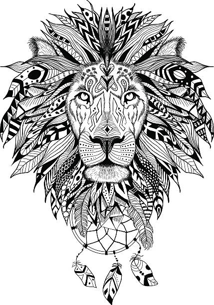 Detailed Lion in aztec style vector art illustration