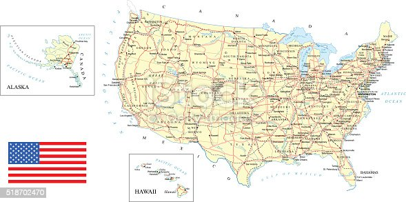 Large detailed road map of United States