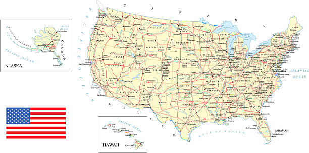 USA - detailed map - illustration vector art illustration
