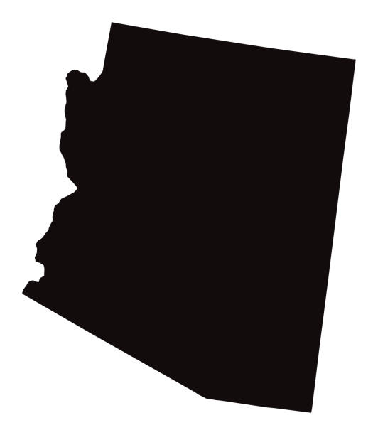detaillierte karte von arizona-zustand - landkarten silhouetten stock-grafiken, -clipart, -cartoons und -symbole