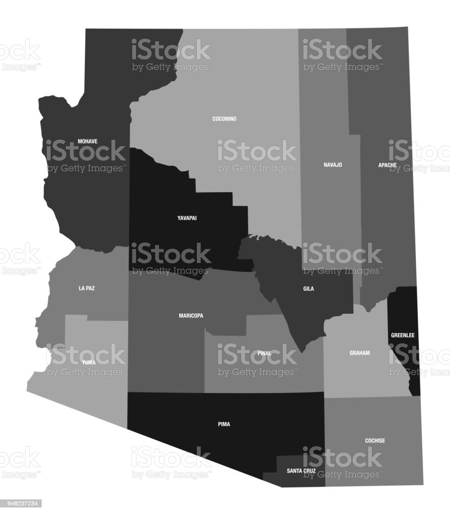 Detailed Map Of Arizona State With County Divisions Stock Vector Art on