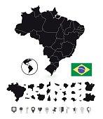 Detailed map of Brazil and flat navigation set