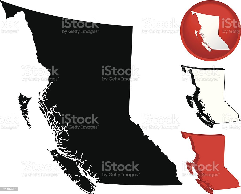 Detailed Map of British Columbia, Canada vector art illustration
