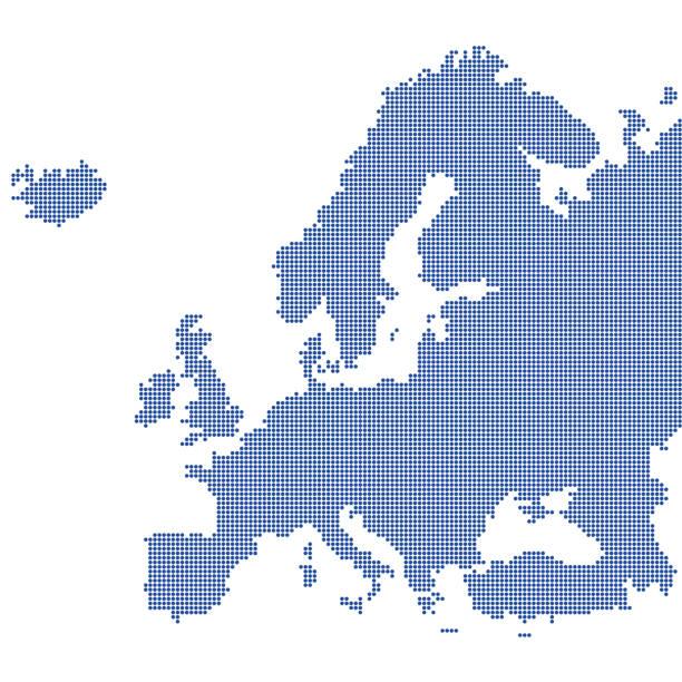 ilustrações de stock, clip art, desenhos animados e ícones de detailed map of europe - europe points