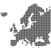 Detailed map of Europe made of round dots. Original abstract vector illustration.
