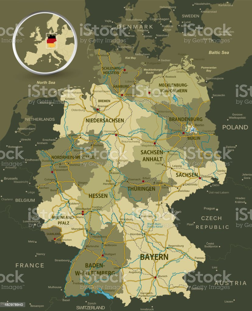Detailed Map Of Germany Stock Vector Art & More Images of 2015 ...