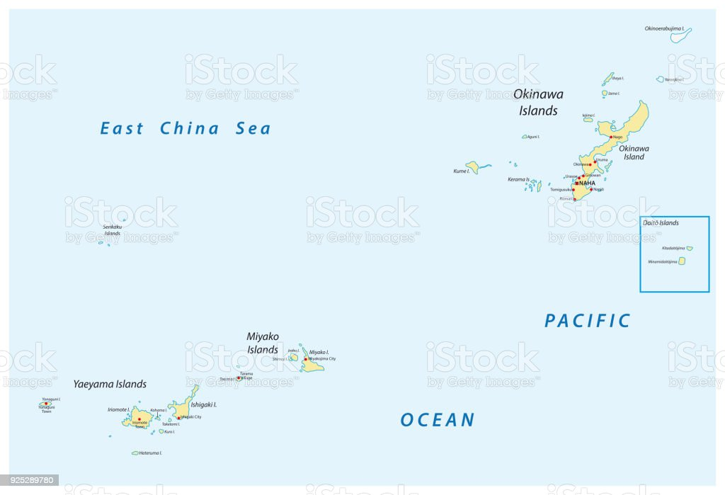 Detailed Map Of Japanese Island Groups Okinawa Miyako And Yaeyama ...