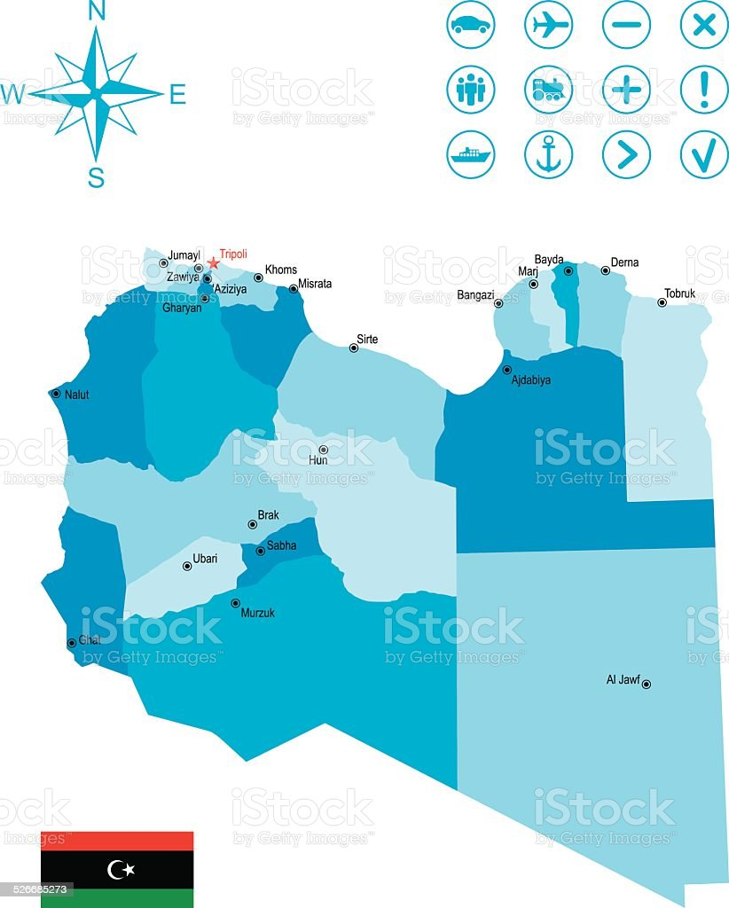 Detailed Map Of Libya Stock Vector Art More Images of Africa