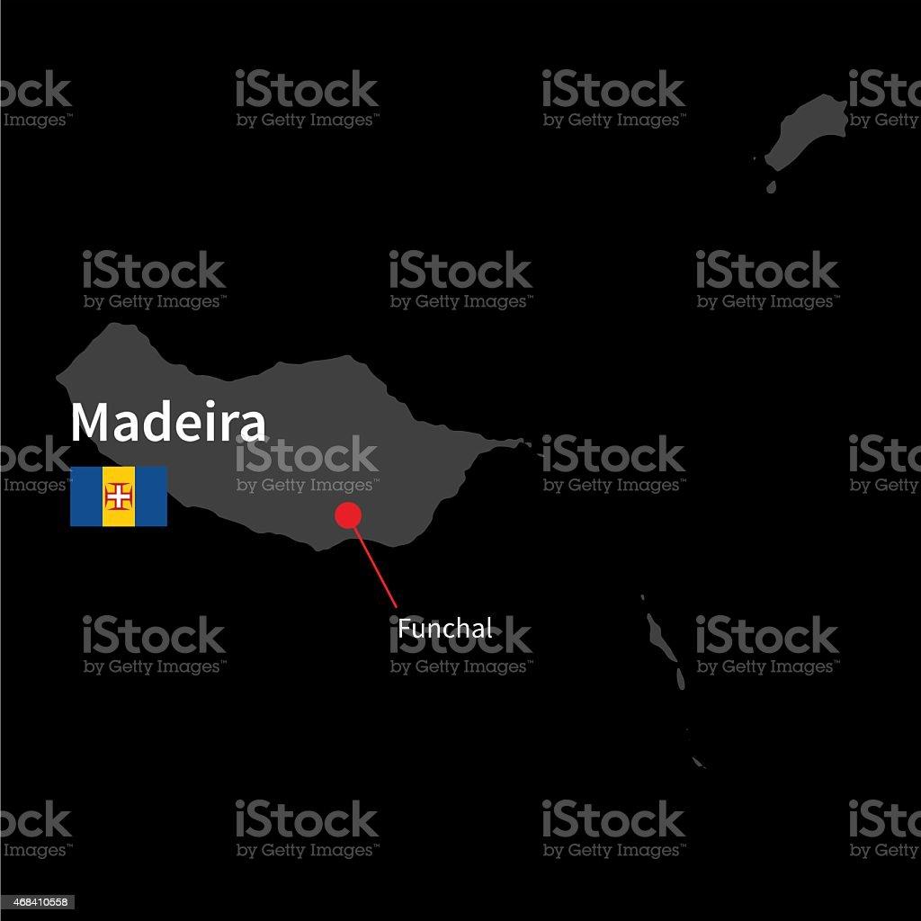 Mapa detalhado de Madeira e capitais Funchal com Bandeira - Royalty-free 2015 arte vetorial