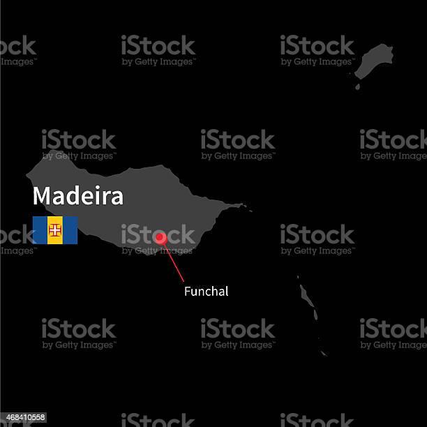 Mapa Detalhado De Madeira E Capitais Funchal Com Bandeira - Arte vetorial de stock e mais imagens de 2015
