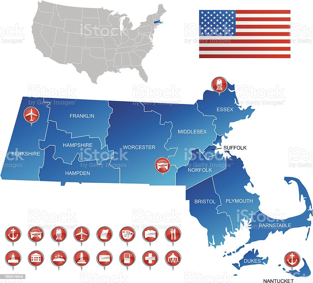 A detailed map of Massachusetts USA royalty-free stock vector art