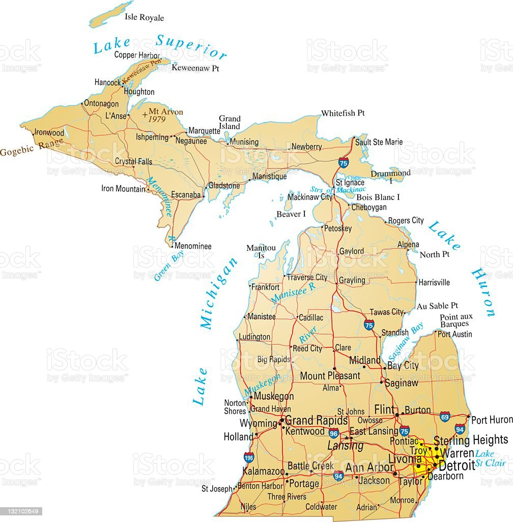 A detailed map of Michigan America vector art illustration