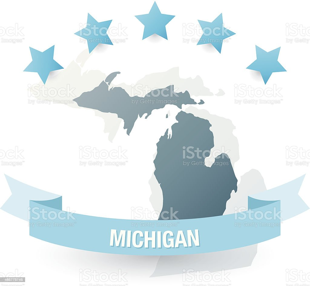 Detailed map of michigan state royalty-free stock vector art