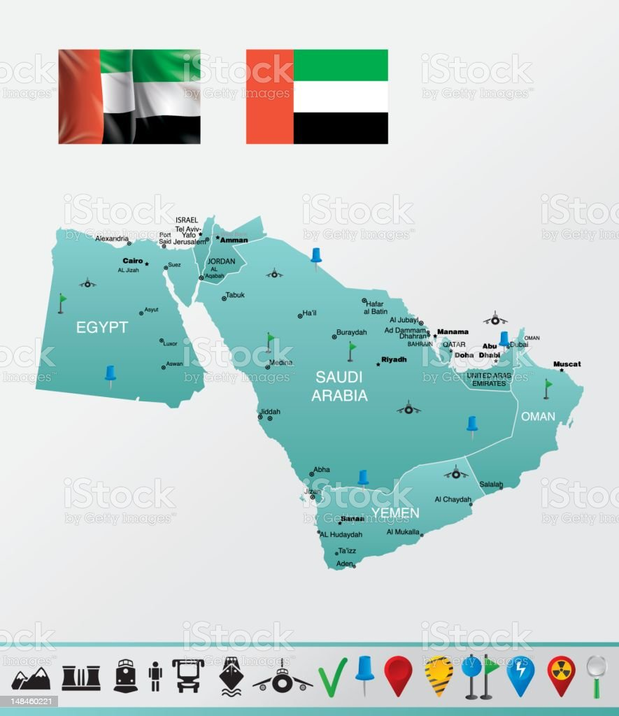 Detailed Map Of Middle East With Navigation Icons stock vector art