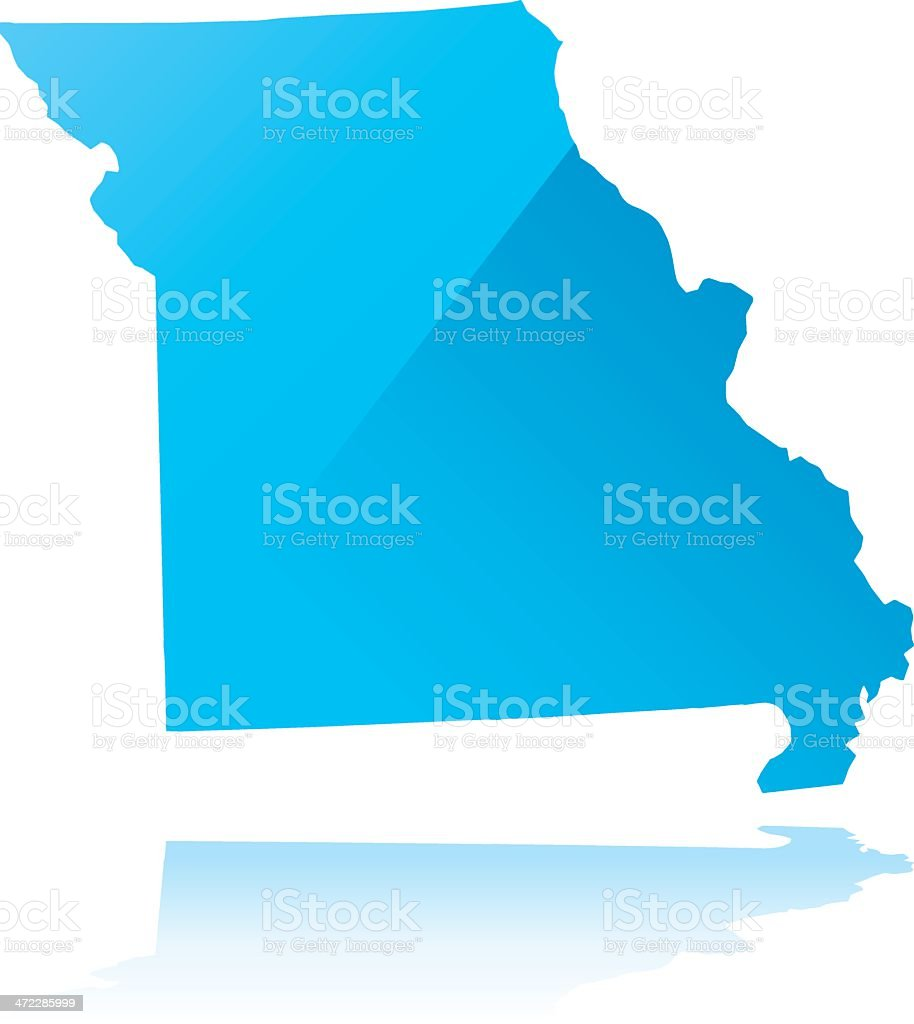 Detailed map of Missouri state royalty-free stock vector art
