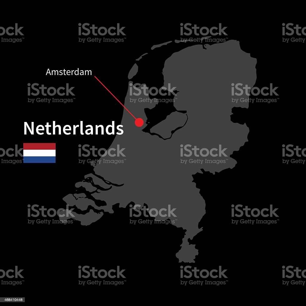 Detailed map of Netherlands and capital city Amsterdam with flag vector art illustration
