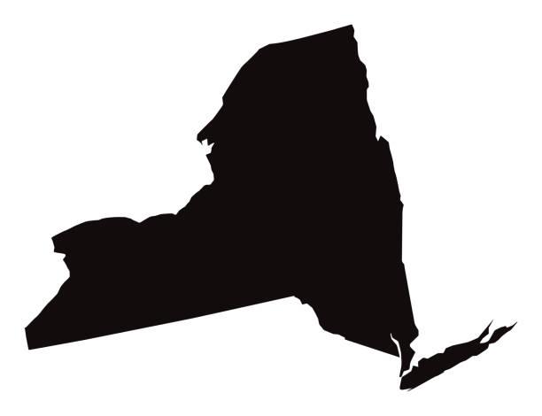 ilustraciones, imágenes clip art, dibujos animados e iconos de stock de mapa detallado del estado de nueva york - siluetas de mapas