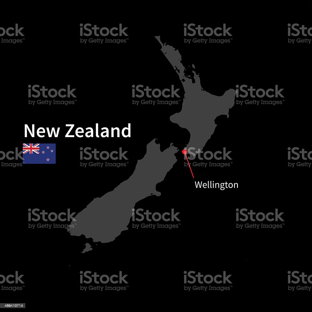 Detailed map of New Zealand and capital city Wellington with vector art illustration