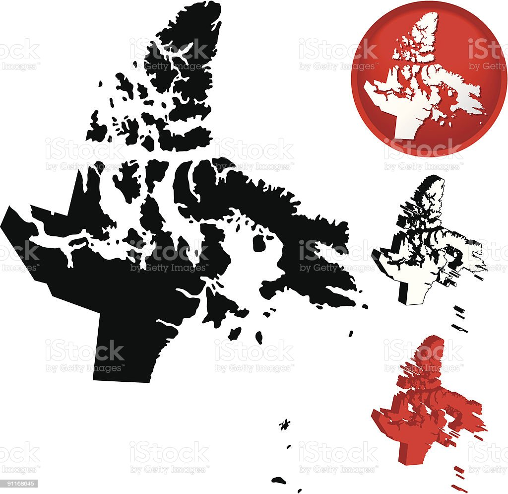 Detailed Map of Nunavut, Canada vector art illustration