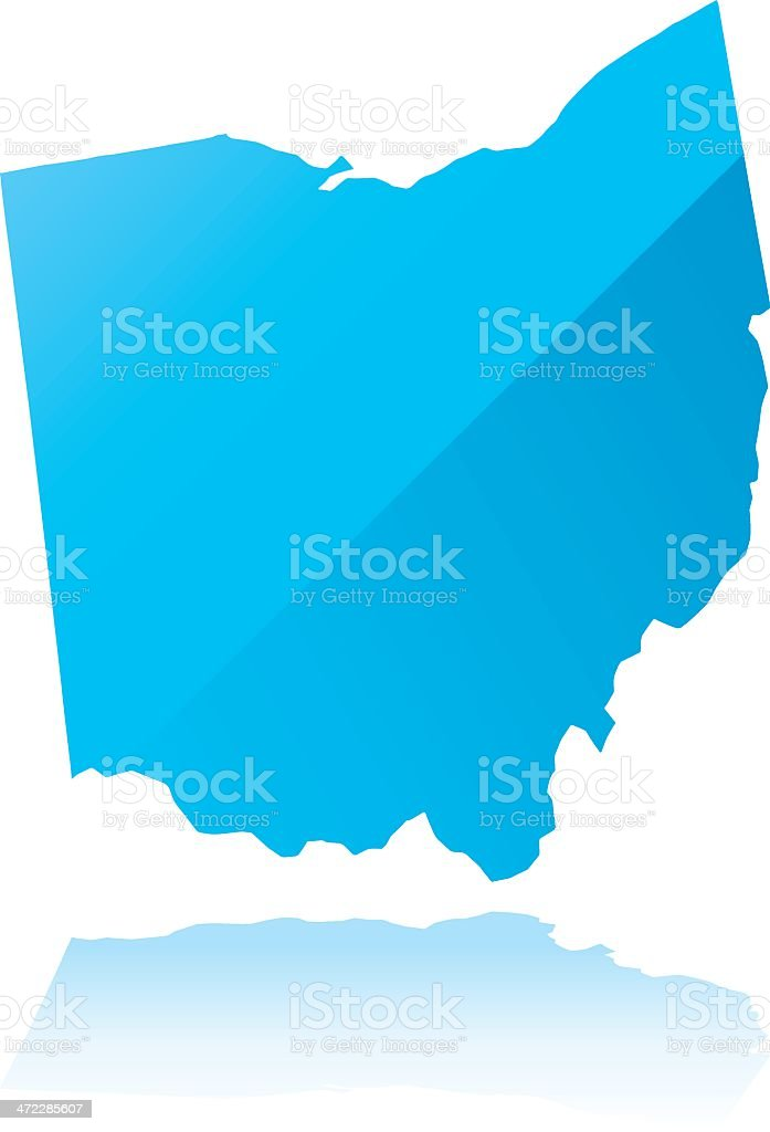 Detailed map of Ohio state royalty-free stock vector art