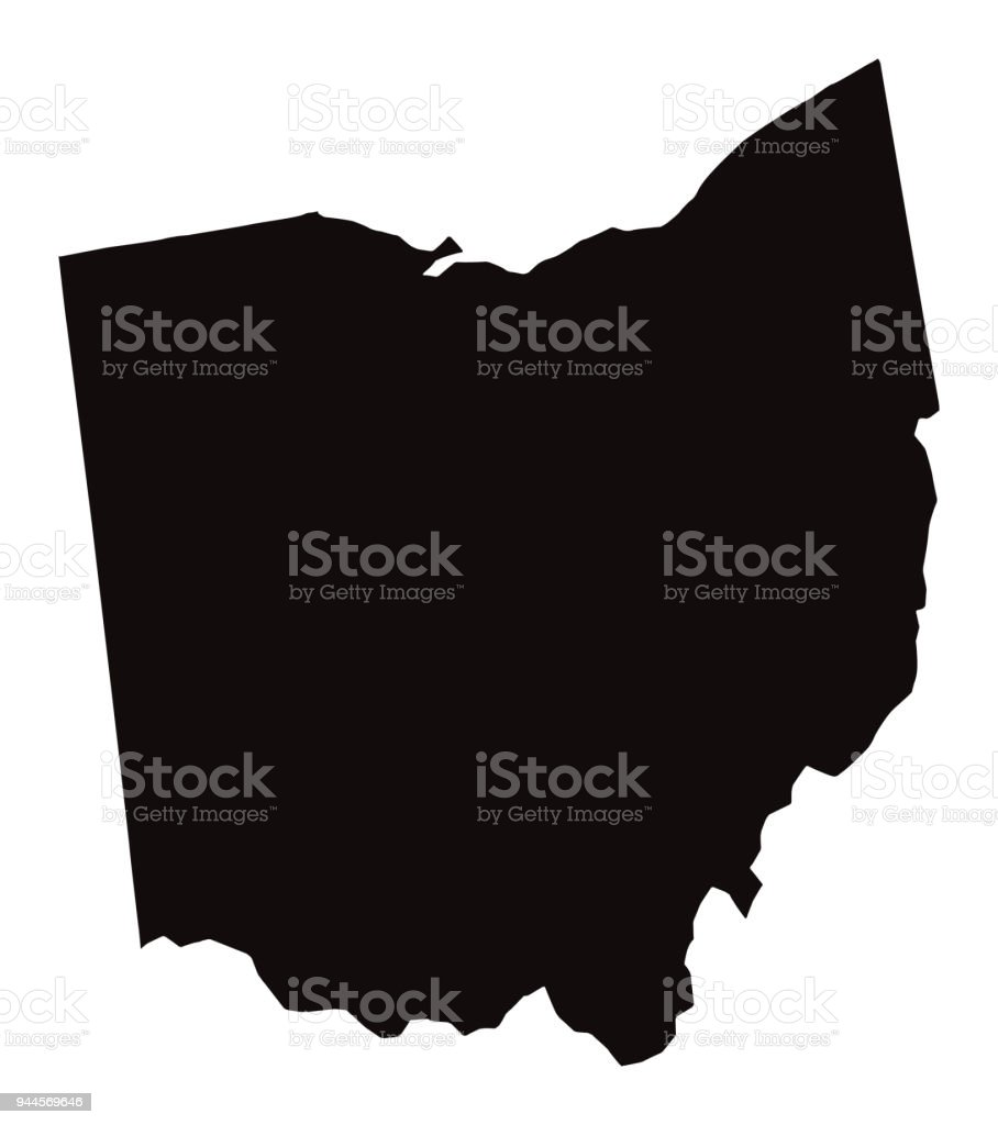 Detailed Map Of Ohio State Stock Illustration - Download Image Now on