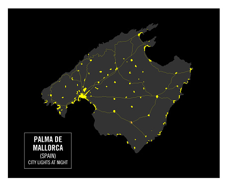 Detailed map of Palma de Mallorca island, Spain. Night view from space. Vector illustration.