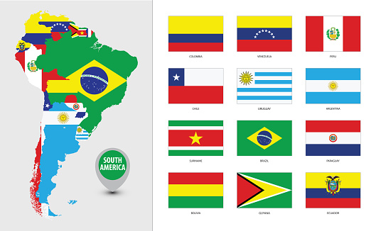 Detailed map of South America with country silhouettes and flags