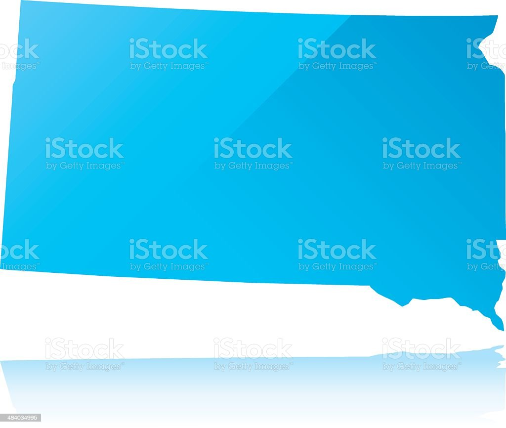Detailed map of South Dakota state vector art illustration