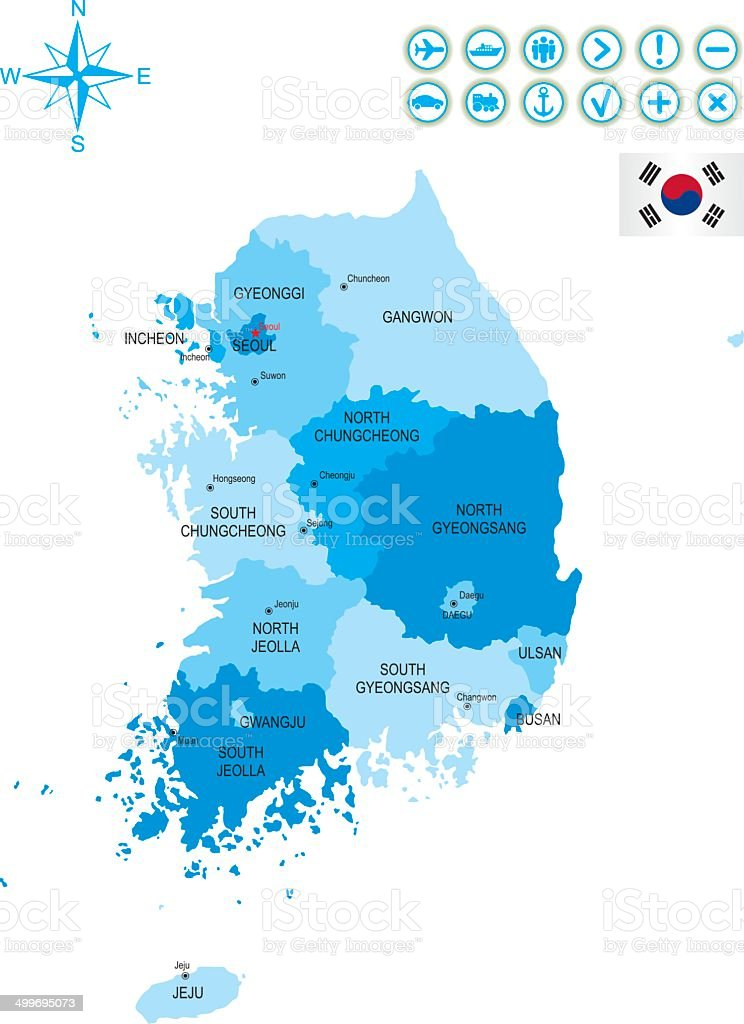 Detailed map of South Korea royalty-free stock vector art