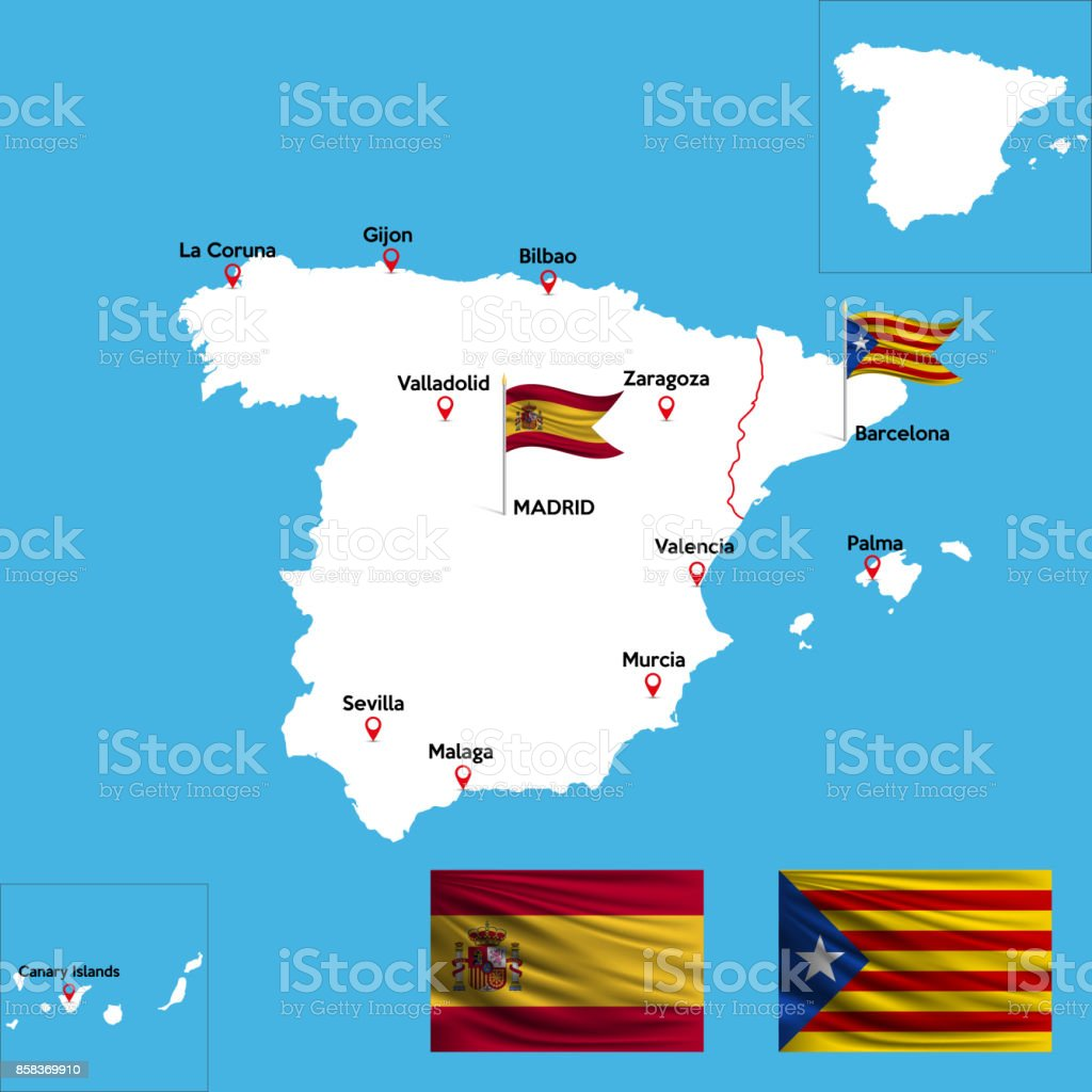 Detailed Map Of Spain.A Detailed Map Of Spain Stock Illustration Download Image Now Istock