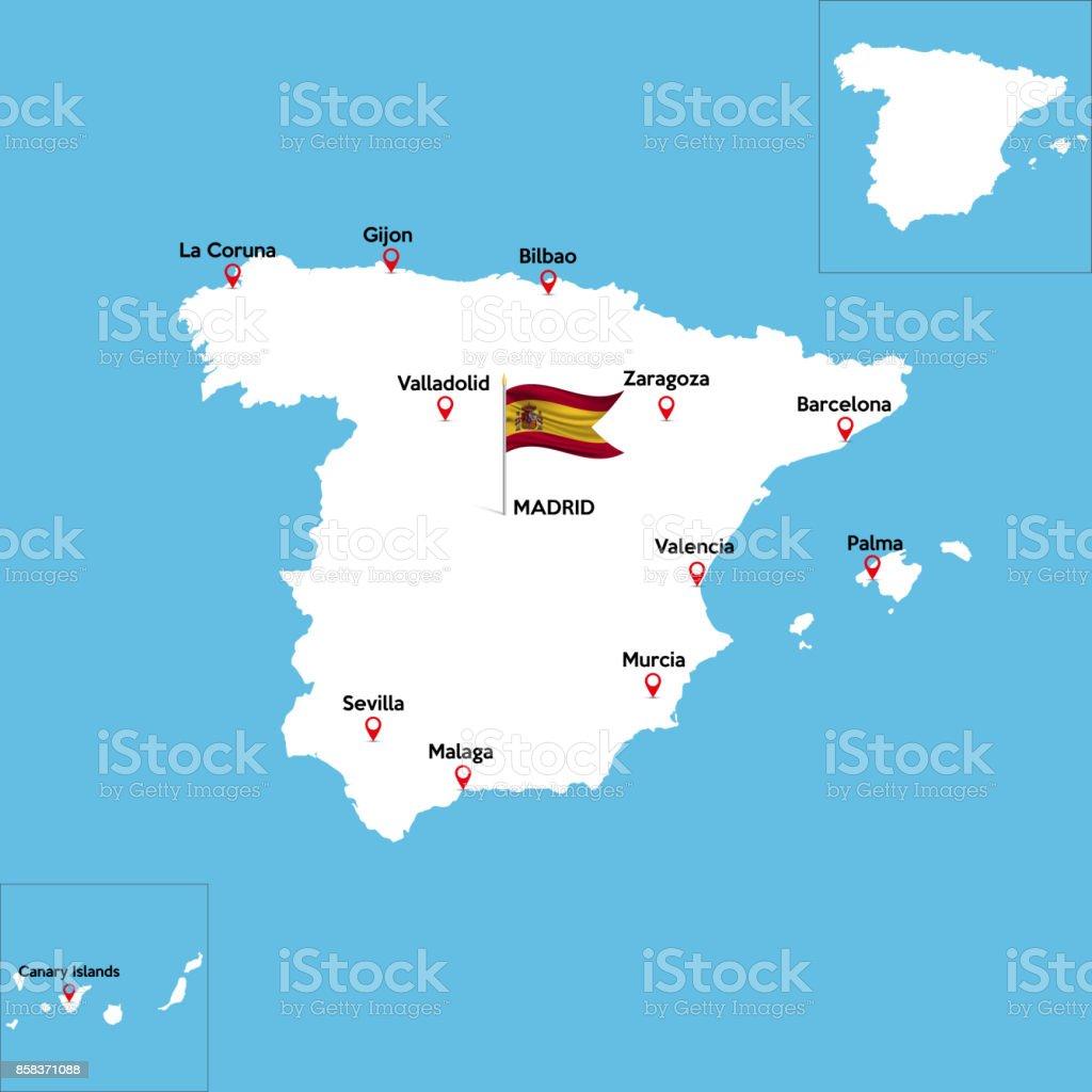 Andalusien Karte Spanien.Eine Detaillierte Karte Von Spanien Stock Vektor Art Und Mehr Bilder