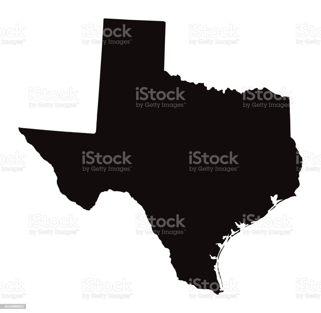 Detailed Map of Texas State vector art illustration