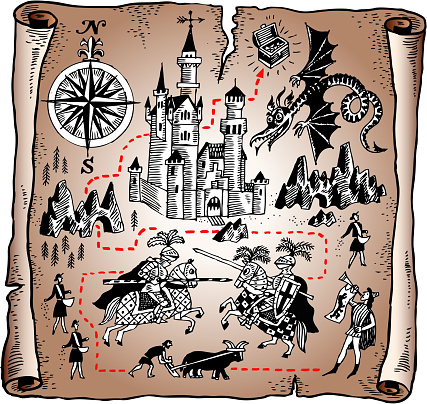 Detailed map of the Knight kingdom on vector paper scroll