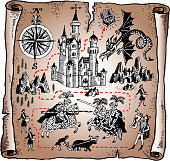 Fairy tale map of the Knight kingdom from medieval times. Antique treasure map includes king's castle,mountains, flying dragon, knights on horses, peasants, and nobles. Royal servant is making an announcement on the bottom right corner. The compass on the left is pointing to north and south. The red dotted line leads to the treasure chest.