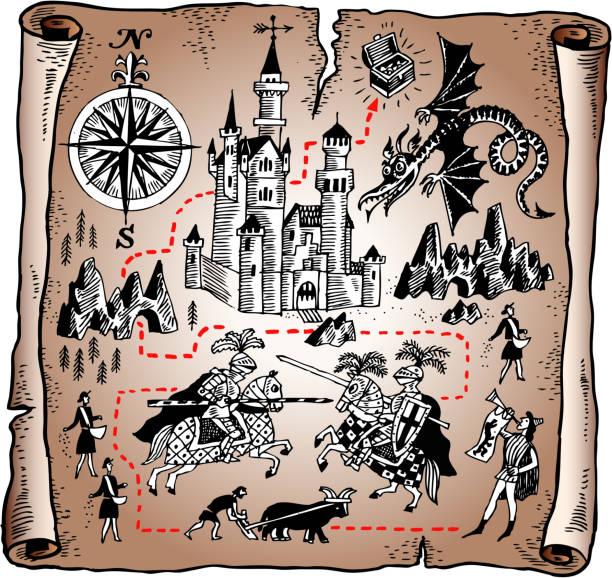 detaillierte karte des knight königreich auf vektor-papier scroll - geistergeschichten stock-grafiken, -clipart, -cartoons und -symbole