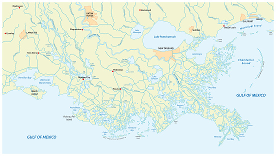Detaillierte Karte Des Mississippi River Delta Im ...