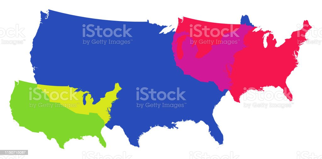Detailed Map Of The United States Of America Overlapping ...