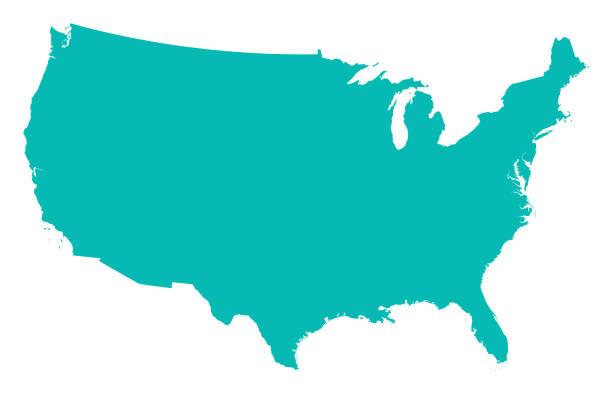 미국의 상세한 지도 - 미국 stock illustrations
