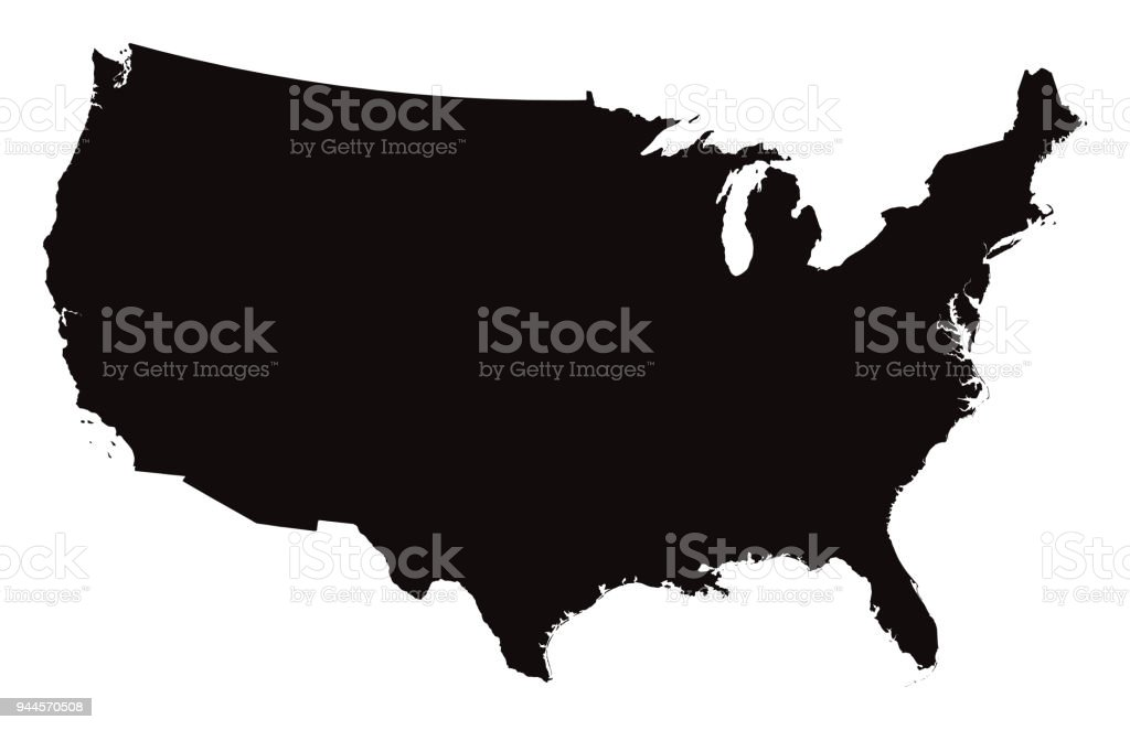Detailed Map of the United States of America vector art illustration