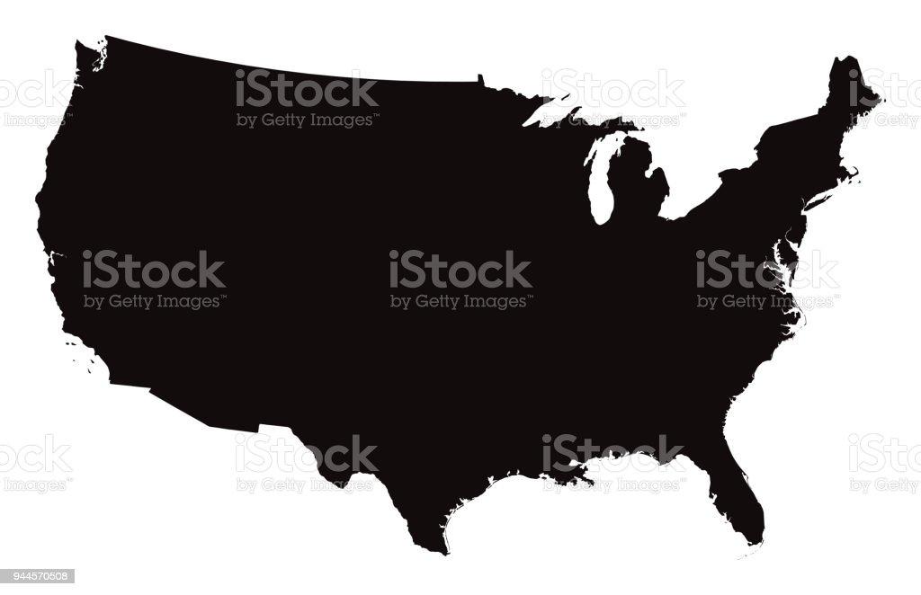 Carte détaillée des États-Unis d'Amérique - Illustration vectorielle