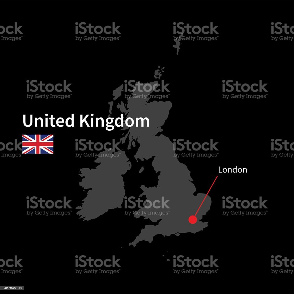 Detailed map of United Kingdom and capital city London with vector art illustration