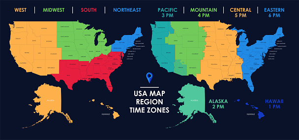 Detailed map of US regions and time zones, Colorful infographics of the United States of America, vector illustration
