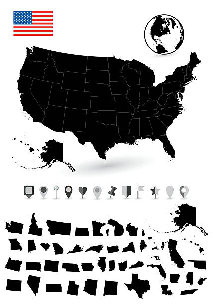 ilustraciones, imágenes clip art, dibujos animados e iconos de stock de detailed map of usa with it's states - siluetas de mapas