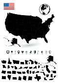 Detailed map of USA with it's states