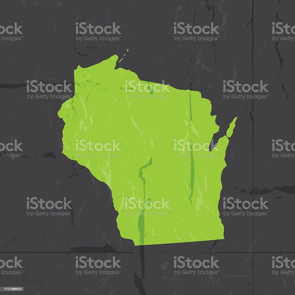 Carte Amerique Wisconsin.Carte Detaillee De Style Grunge De Letat Du Wisconsin