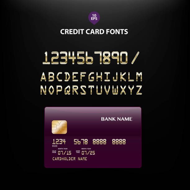 detailed metallic credit card fonts - credit card stock illustrations